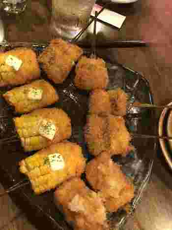 おすすめは旬の野菜や魚介類などを使った季節の串揚げです。来店ごとに違った味が楽しめていいですね。