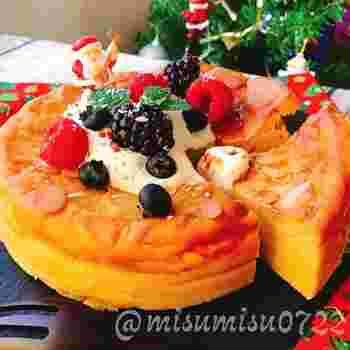 安納芋を使うことでお砂糖なしでも甘さはしっかり♪ヘルシーに美味しく食べられるのが嬉しいチーズケーキです。