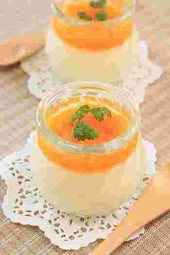 15分もあれば作れてしまう!マスカルポーネチーズを使ったお手軽プリンです。オレンジソースで爽やかに。食後のデザートにもピッタリです。