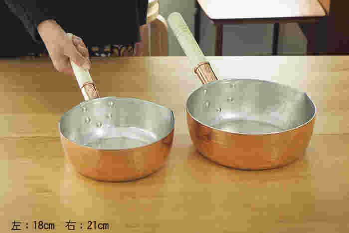 2~3人分のお味噌汁に最適な18cmサイズと、4~6人分のお味噌汁や煮物を作るのに適している21cmサイズがあり、家族の人数や用途に合わせて選べるのも◎。