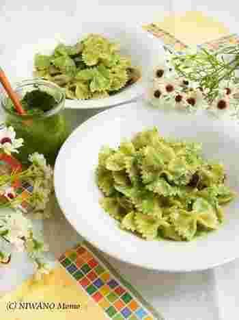 手作りのホウレン草ペーストでつくるゴルゴンゾーラのリッチなパスタ。パスタがグリーンにコーティングされた見た目が、とってもかわいい♪ ホウレン草のペーストは他のお料理にも使えるので、要チェック♪