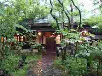 「おやど 二本の葦束(あしたば)」のテーマは「壮麗なまほろばの世界」。和の中にアジアやヨーロッパの美を融合させた、優雅な空間が広がります。4,500坪の敷地内には川が流れ、自然が生い茂っています。