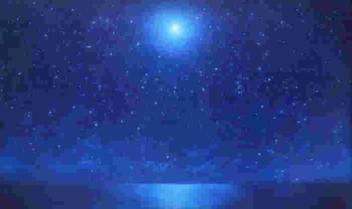 ●夜-満月と星空—  月と星の光に照らされた静かな夜。自然の宝石のような美しさです。