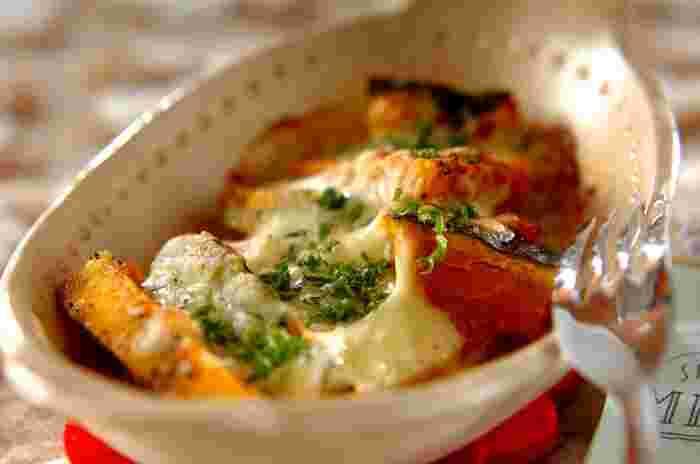 和洋のテイストがコラボしたグラタン風。塩麹がかぼちゃの甘みをより際立たせ、ゆずの爽やかな香りが全体を引き締めます。おしゃれなテーブルになりそうですね。