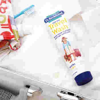 下着や水着などをその日のうちに手洗いしたい時に使いやすいのが、チューブタイプの洗濯用洗剤。バスルームでサッと洗えます。ミニサイズの物干しハンガーやロープを併せて持っていきましょう。