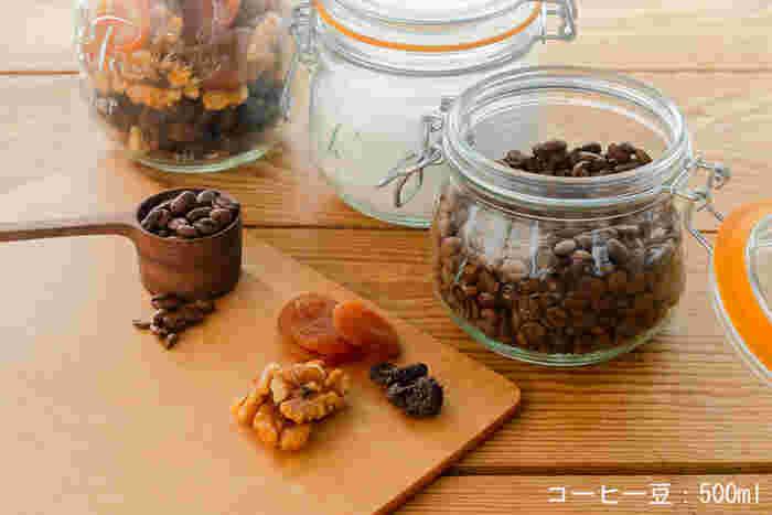 フランスで愛されているガラス製のジャー。口が広いので出し入れしやすく、お手入れも楽々♪コーヒー豆の保存には、一番小さい500mlがおすすめです。