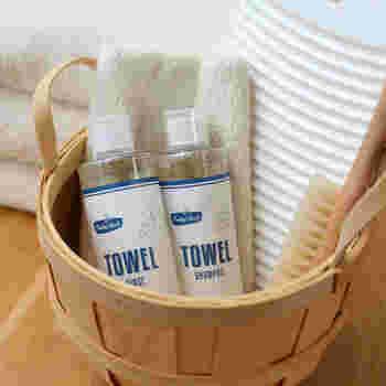 タオル本来の吸水性やふっくら感を保ちながら洗い上げてくれるという、タオル専用のシャンプー。さらに仕上げに使用すると、クエン酸効果で黄ばみや臭いの発生を防いでくれるというタオル専用のリンスです。タオル専用という発想が新鮮ですが、タオルの触り心地にこだわりたい方にはまさにぴったりなアイテムですよね。