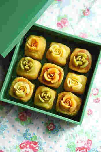 シルクスウィートの上品な甘さを生かしたきんつば。ロシアン口金を使ってお花のデコレーション!華やかで素敵です。