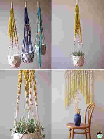 壁や天井から吊るせるマクラメ編みのプランターは、狭い部屋でもグリーンを楽しめます。紐の色やビーズなどオリジナルのアレンジを加えるのもいいですね!