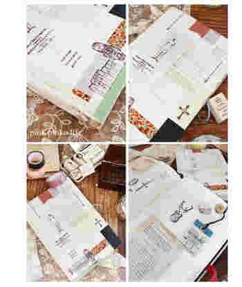 シールや切抜きなど、さまざまな紙ものを使ってコラージュしてみるのも楽しい!