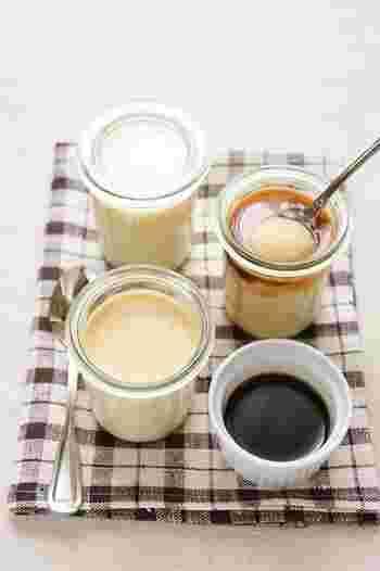 ゼラチンで作るカスタードプリンはとろっとした食感。のどごしひんやりの、夏向きプリンです♪