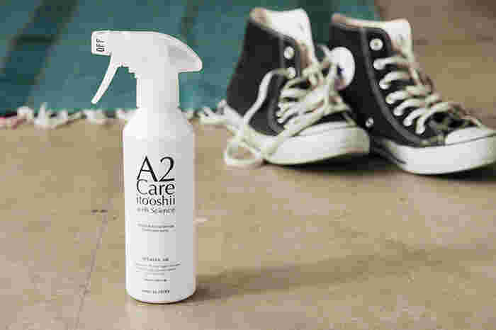せっかくスマートに処理した生ごみも、臭いが出てしまっては残念です。気になる生ごみの臭いにはシュッとひと吹き。スプレーで解決しましょう。A2ケアは除菌消臭効果が高く、水のように低刺激で安心して使えるのが魅力です。
