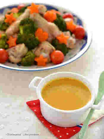 下味をつけた手羽元をお好みの野菜と一緒に蒸し焼き。煮汁を使って作るカレー風味の濃厚なソースをディップしていただきます。かわいく盛りつければパーティーメニューにもなりますね♪