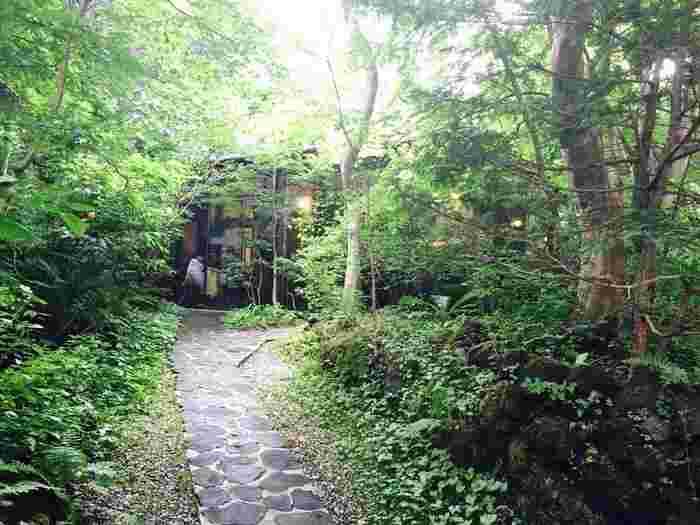 中軽井沢のフレンチと言えばここ!と言われるほど有名な「Hermitage de Tamura(エルミタージュ ドゥ タムラ)」。旅先でリッチな気分を味わいたい時にぴったりなお店です。森の中にある静かなレストランは、まさに大人の雰囲気。