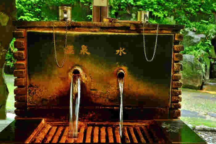 露天風呂の手前には、源泉が飲める飲水所も。温泉成分に鉄分が多く含まれているので、まわりが錆びてしまうんですね。ちょっとクセのある味ですが、ひと口味わってみてはいかがでしょうか?
