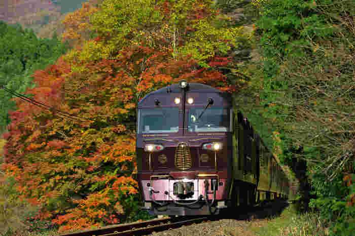 ワインレッドの車体と金の装飾が美しい、日本初のクルーズトレイン「ななつ星」。列車内で宿泊しながら九州を一周できる、おすすめの寝台列車です。3泊4日と1泊2日のコースから選べ、各地の観光名所と見て回ったり、大自然を満喫することができます。