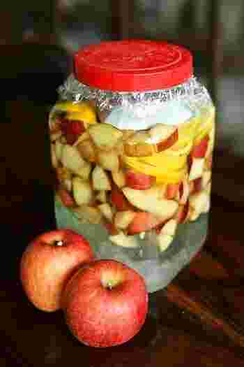 リンゴとホワイトリカーを使ったベーシックなりんご酒。レモンを一緒に漬け込んであるので、すっきりした酸味が楽しめます。