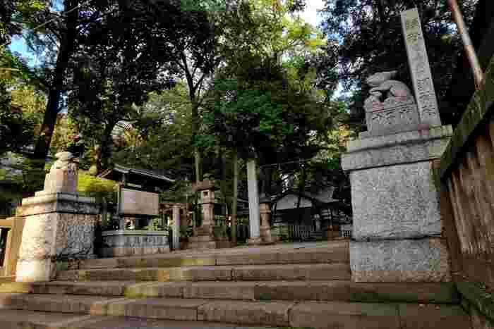 JR浦和駅から歩いて10分ほどのところにある「調神社(つきじんじゃ)」は、日本でも珍しいうさぎを守り神にした神社です。境内の入口には、狛犬ならぬ「狛うさぎ」が鎮座。創建は古く、今からおよそ2,000年前の第10代崇神天皇の時代とされています。