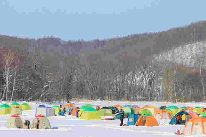 冬になると網走湖の湖面は全面結氷し、まるでスケートリンクのようになります。古くからワカサギ漁が盛んな網走湖では、ワカサギ釣りを楽しむ人々のテントで賑わいます。