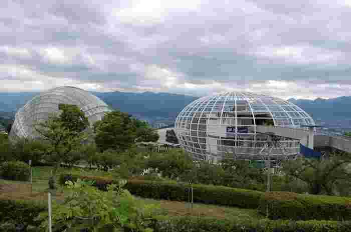 敷地内には、半円球のガラスドームが3つ。ドームのひとつ「くだもの広場」は、高さ10m、直径55m、床面積1,800平方メートルあり、イベントやコンサートを行ったり、子ども向けの屋内型遊具施設、お食事や休憩ができるスペースとして利用されています。