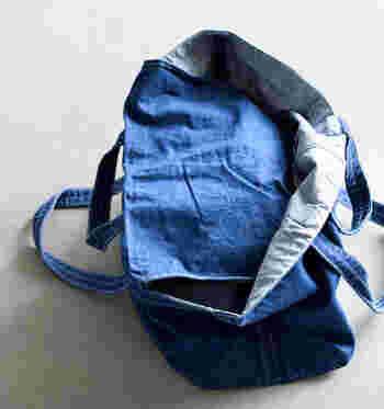 内側に共布のフラップを付けた心配りもうれしい。これならバッグの中身も見えずに安心です。デニムならではの経年変化も楽しみのひとつ。