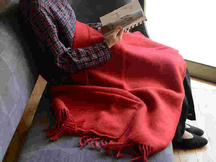 大きめのポケットにはホッカイロやハンカチ、鍵などの小物を収納できるので、ちょっとしたお出かけや旅行にも重宝しますよ◎。ウール100%を使用した暖かいショールは、お家の中ではこんな風にブランケットとしても使用できます。おしゃれで機能的なLapuan Kankuritのショールは、これからの季節に一枚は欲しいアイテムです。