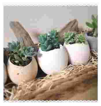 卵の殻を使って。 小さいので、卓上にたくさん並べるとかわいいです。