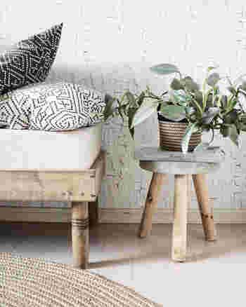 植木鉢に植えた植物を置くのにも、スツールは大活躍。観葉植物を置くときは、ある程度、位置を決めてあまり動かさないようにするとお部屋のインテリアの一部として馴染みやすくなります。