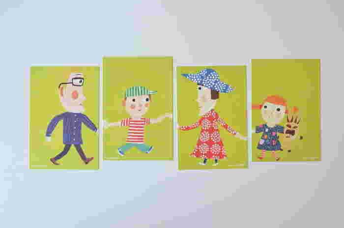 ■ポストカード フィンランドのイラストレーター、マッティ・ピックヤムサデザインの4枚セットのポストカード。 マリメッコの洋服やうさぎ山ごんぞうさんも描かれています。