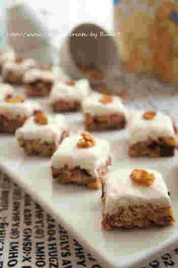 アメリカ発のマシュマロのお菓子です。アクセントの胡桃も可愛らしくおすそわけにはおすすめのお菓子です。