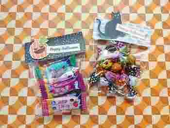 お菓子を詰めた透明な袋に、厚紙をホッチキスで留めるだけで簡単にかわいらしいラッピングが完成♪厚紙にはイラストを描いたり、シールを貼ったりして工夫してみましょう。厚紙の模様の合わせ方も楽しんでみてくださいね。