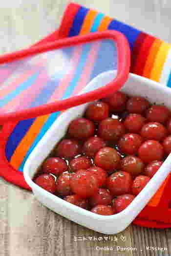湯むきしたプチトマトをマリネ液にドボンと浸けておくだけの簡単レシピ。マリネ液はオイルや入れるお酢を変えると和洋中様々な味のバリエーションに変化させることができますね。