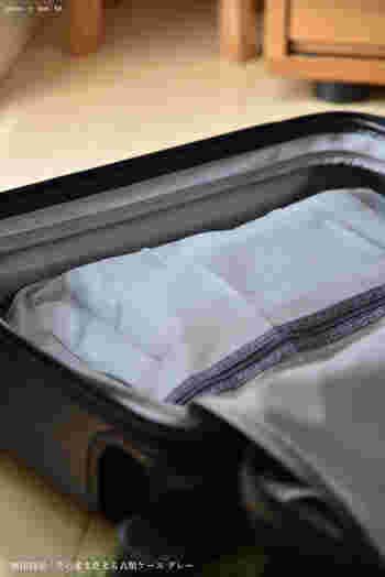 こちらは洗濯ネットの素材を使用した「そのまま洗える衣類ケース」。旅から帰って衣類をそのまま洗濯できる、なんとも便利なアイテムです。