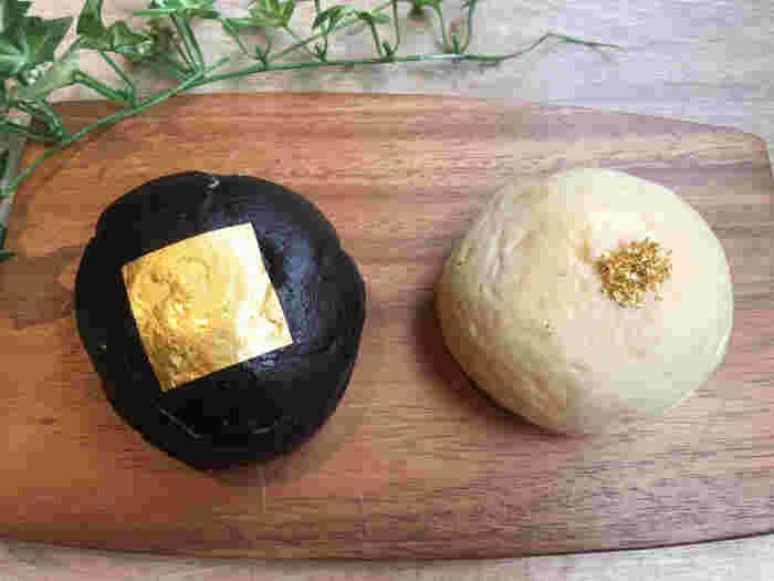 こちらのクリームパンは金箔がアクセントの変わった見た目。真っ白なクリームパン「kin・iro」と真っ黒なクリームパン「kuro・iro」の二種類のみの販売です。クリーム量の約15%の蜂蜜が贅沢に使われ、ここでしか食べられないクリームパンに仕上がっています。しかも真っ黒なクリームパン「kuro・iro」は一日限定50個なので超レアです。