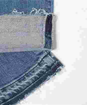 今期の注目デニムはなんといっても裾が切りっぱなしになっている「カットオフデニム」でしょう。ウエストが深めでタイト過ぎないシルエットが人気です。