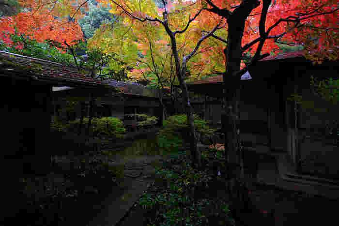 「叶匠壽庵京都茶室棟」は、「哲学の道」の起点、熊野若王子神社前に佇む、情趣たっぷりのお店です。