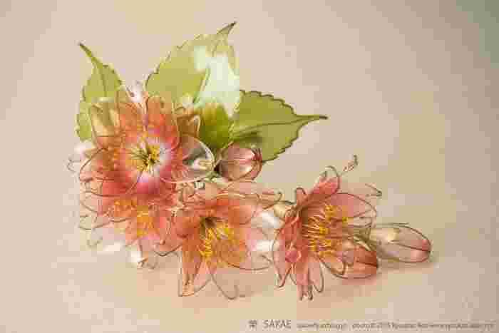 桜色が濃さを増して妖艶なまでに美しく、けれど少女のような愛らしさも秘めた八重桜。大人の女性の装いにふさわしい花ではないでしょうか。 Photo by Ryoukan Abe (www.ryoukan-abe.com)