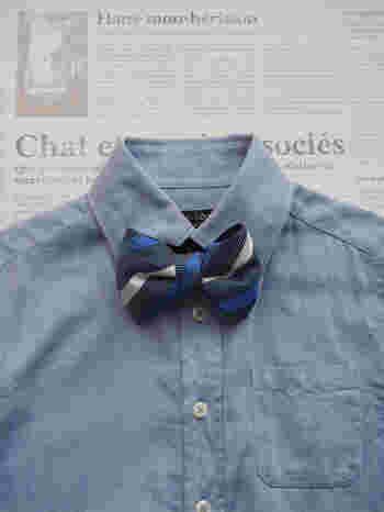 旦那さんのネクタイから、男の子用の蝶ネクタイを作ることもできます。  ネクタイはどうしてもデザインが古くなったり、食事でシミを作ってしまったりと、知らず知らずのうちに、使わないものがたまっていくことが多いもの。  きっと、お父さんのネクタイを付けられるお子さんも、誇らしい気持ちで、喜んでくれるはず。
