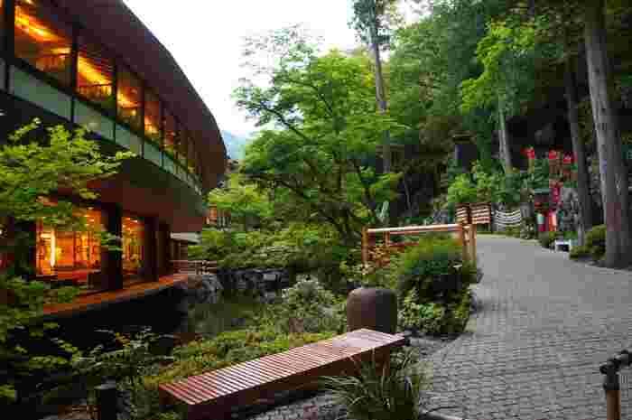 箱根湯本温泉 天成園の広い敷地内は、ちょっとしたお散歩コースにもなっています。パワースポットと言われている玉簾の瀧(たまだれのたき)も敷地内にあるんです。見どころ満載の天成園、是非足を運んでみてはいかがですか?