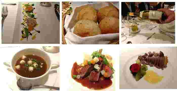前菜(左上)は東大名物・銀杏並木に見立てて調理されるとのこと。左下から「オニオンスープ」「牛ヒレステーキ」、デザートの「モンブラン」。