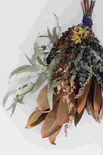 ボリュームたっぷりの秋のスワッグです。ドライフラワーのみを束ねているのに躍動感があって、生花のような瑞々しさも感じられます。これがスワッグの奥深さなのかもしれません。