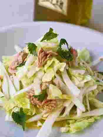 イタリアンに変身した白菜はおもてなしにも◎ 白菜の根元を繊維にそってタテに切ることで、シャキシャキの食感になるそう♪