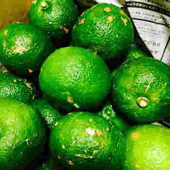 柚子の旬は、10~12月頃。柚子の実は、7~8月には未熟な青い実がなり、この青柚子は柚子胡椒によく使われます。黄色の熟した柚子よりもさらに清涼感のある酸味と香りが特徴です。