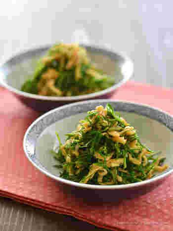 にんにくとしょうがをたっぷりとアレンジした香味和え。おかひじきと切り干し大根の食感が楽しい、パンチの効いた和え物です。