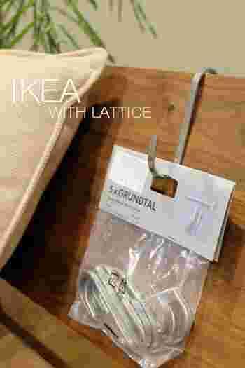こちらは『IKEA(イケア)』のS字フック、「GRUNDTAL(グルンドタール)」。ステンレス製で、少し大きめのサイズ感が特徴。ちょうどいい重量感と頑丈さが魅力です。