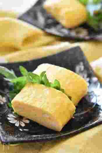 ふんわりやさしい味のたまご焼きは、冷めてもパサつかないのでお弁当のおかずにオススメ。