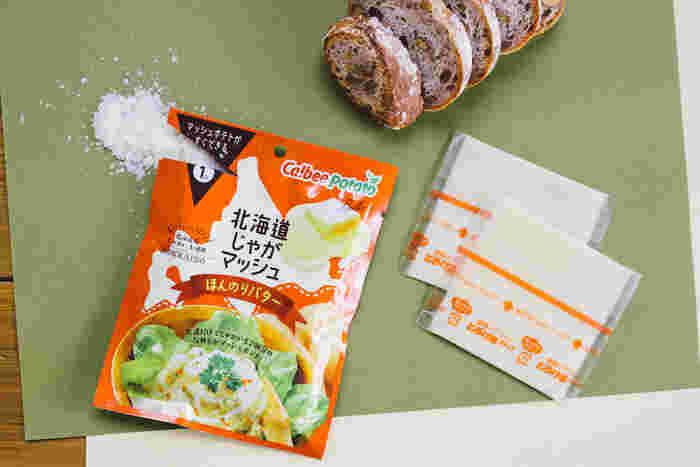 ・カルビーポテト『北海道じゃがマッシュほんのりバター』 大さじ4(1/2袋) ・とろけるチーズ 2枚 ・水 70ml