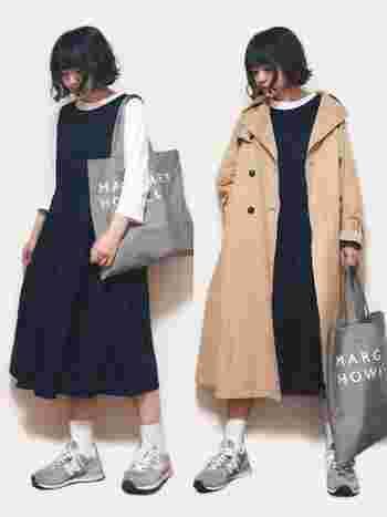 カットソーやニットと合わせて、さらにコートなどの上着を羽織るのも◎この重ね着を応用すれば、秋~冬~春まで着まわせます。
