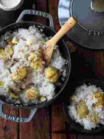 栗といえば栗ごはんは外せませんね。栗がごろごろ入った栗ごはんは、食べごたえも◎ 炊飯器で簡単に。お鍋で炊けば香ばしいおこげも楽しめますよ。栗好きさんはもちろん、大人から子供まで喜ばれるレシピです。