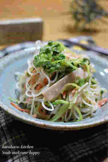 コクのある豆苗と春雨のサラダ。マヨネーズやポン酢、そして隠し味の味噌などがいい仕事をしてくれる、充実のおかずサラダです。